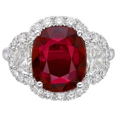 4.14 Carat GRS Certified 18 Karat Gold Ruby and Natural Diamond Ring