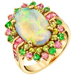 4.14 ct. Crystal Opal, Peridot, Pink Spinel, Tsavorite 14k Gold Cocktail Ring