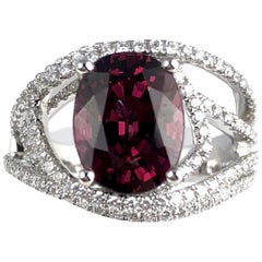 4.14 Carat Oval Cut Raspberry Garnet Fashion Ring in 18 Karat White Gold