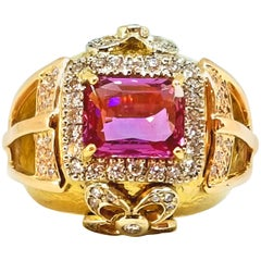 4.14 Carat Purple Pink Sapphire Diamond Large Dome Style Statement Ring 18 Karat