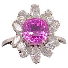 4.14 Carat Unheated Ceylon Pink Sapphire Ring