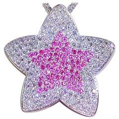 4.14 Carat White Gold Necklace Diamond Ruby Star Pendant