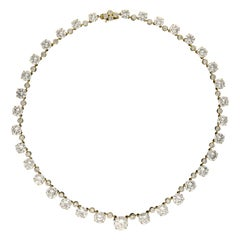 41.49 Carat D-H Color Diamond Riviere Necklace in 18 Karat Gold, circa 1962