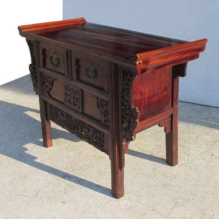 Fretwork 19th Century Qing Period Chinese Alter Console For Sale
