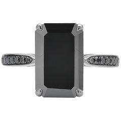 4.15 Carat Black Diamond Ring in 18 Karat White Gold with Black Rhodium Finish