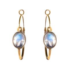 4.15 Carat Cabochon Moonstones Gold Hoop Earrings