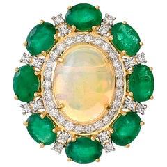 4.15 Carat Ethiopian Opal Emerald Diamond Ring