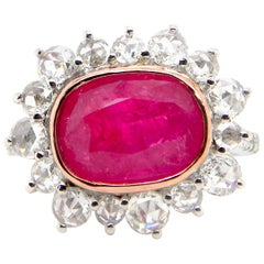4.15 Carat GRS Certified Unheated Burmese 'Mogok' Ruby and White Diamond Ring