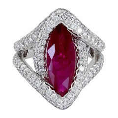 4.15 Carat Marquise Cut Ruby and Diamond Split Shank Halo Engagement Ring