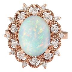 4.15 Carat Natural Opal 18 Karat Rose Gold Diamond Ring