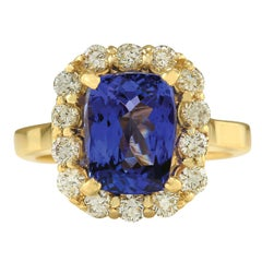 4.15 Carat Natural Tanzanite 18 Karat Yellow Gold Diamond Ring