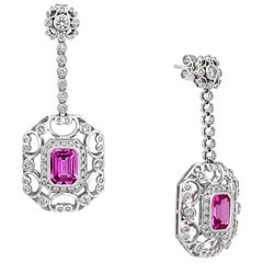 4.15 Carat Ruby 1.92 Carat Diamond 18 Karat White Gold Dangle Earrings