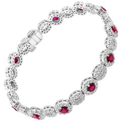4.15 Carat Ruby and Diamond White Gold Bracelet