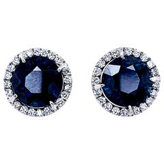 4.15 Carat 'Total Weight' Sapphire and Diamond Halo Stud Earrings