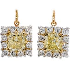 4.15 Carat Yellow and White Diamond Drop Earrings in 18 Carat Yellow Gold