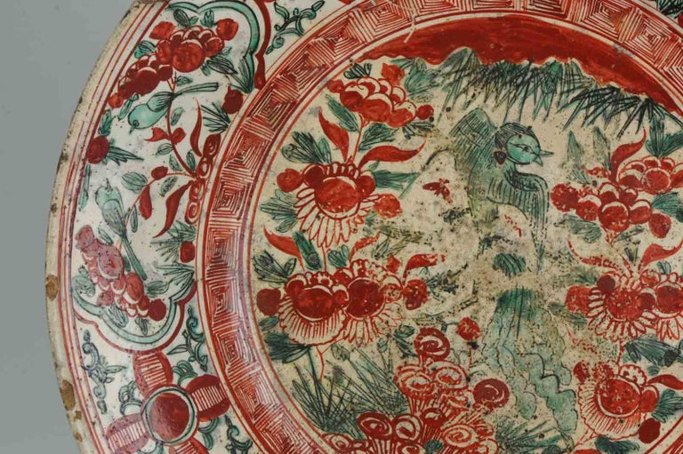 Antique Chinese Porcelain Wanli 16th-17th Century Ming Swatow Large Plate For Sale 7
