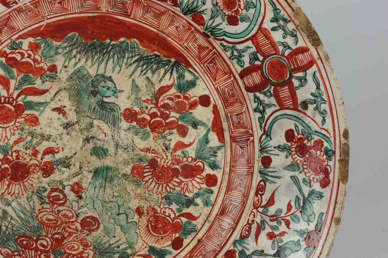 Antique Chinese Porcelain Wanli 16th-17th Century Ming Swatow Large Plate For Sale 8