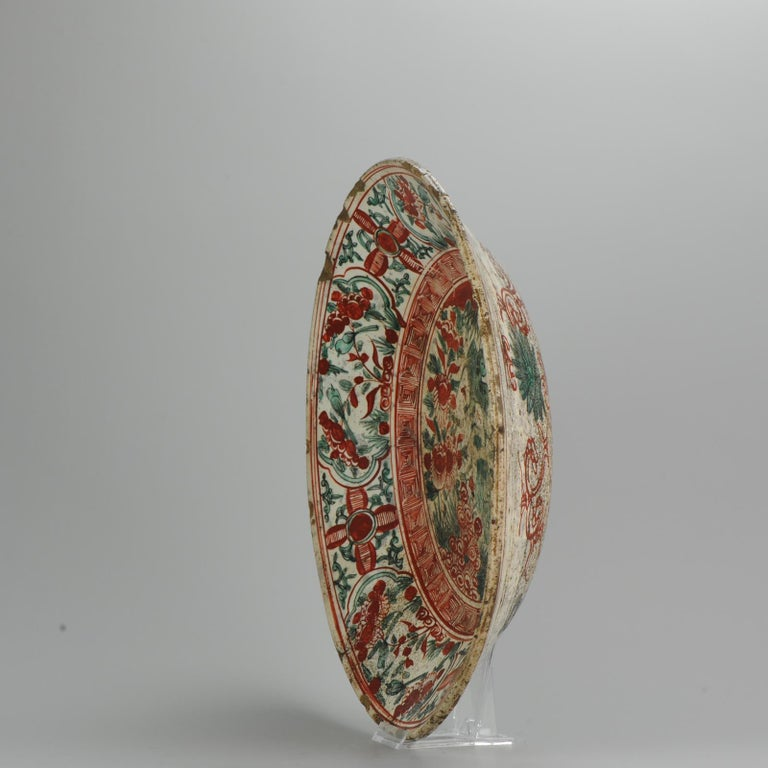 Antique Chinese Porcelain Wanli 16th-17th Century Ming Swatow Large Plate In Good Condition For Sale In Amsterdam, Noord Holland