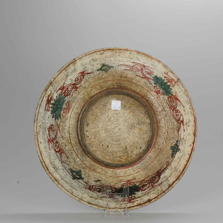 Antique Chinese Porcelain Wanli 16th-17th Century Ming Swatow Large Plate For Sale 3