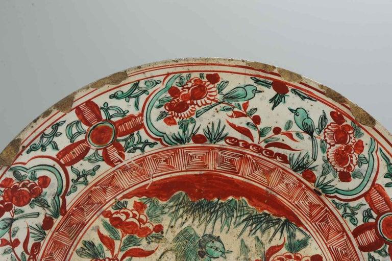 Antique Chinese Porcelain Wanli 16th-17th Century Ming Swatow Large Plate For Sale 4