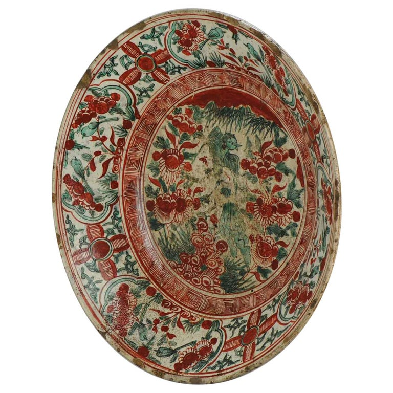 Antique Chinese Porcelain Wanli 16th-17th Century Ming Swatow Large Plate For Sale