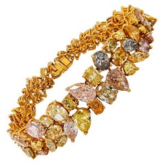 41.50 Carat Multi Colored Diamond Bracelet