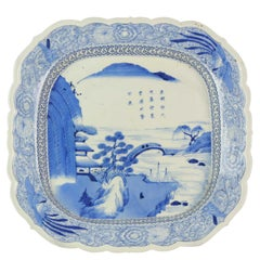 18th-19th Century Japanese Porcelain Charger Edo / Meiji Period Landscape