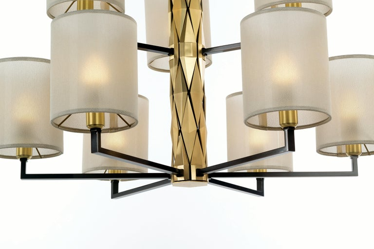 Flaire Collection - Rich central body composed of many solid brass elements, bevelled in various ways for an array of facets.  Central structure and detailing in solid natural brass; lamp holders, base and inner structure in burnished copper