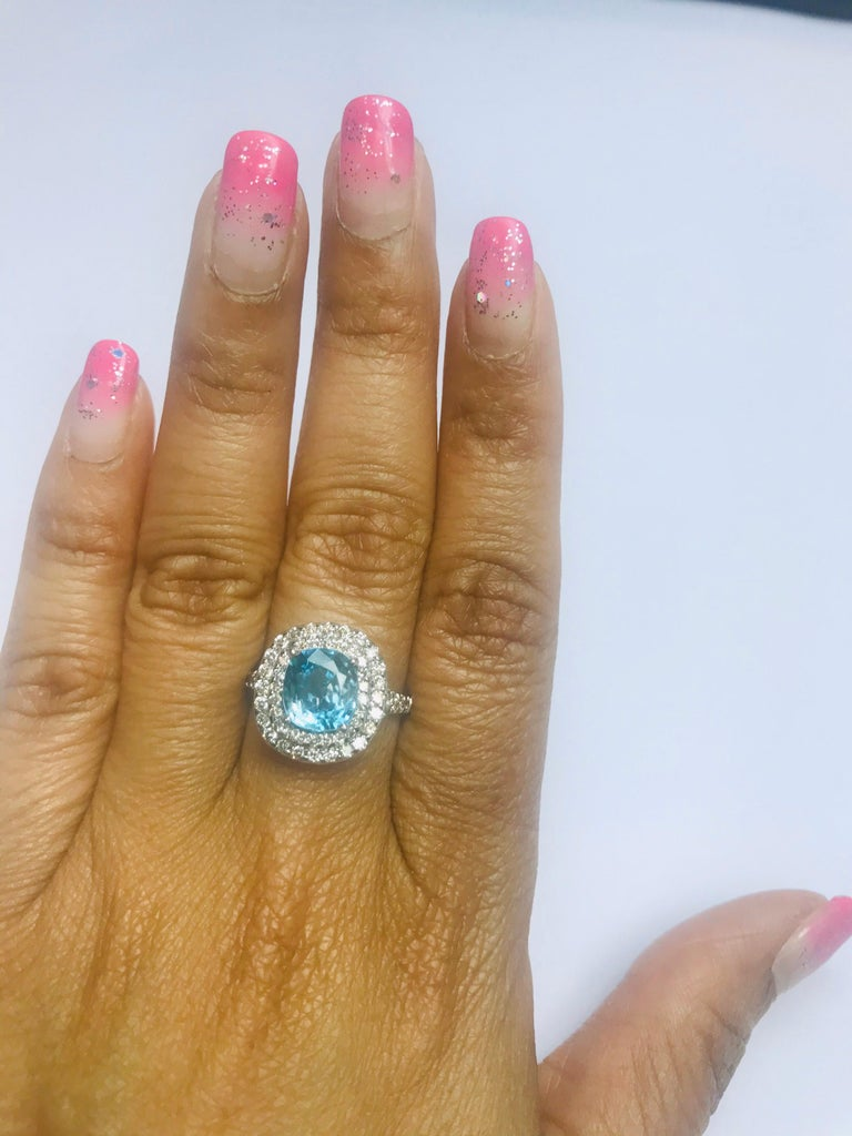 4.16 Carat Blue Zircon Diamond Double Halo 14K White Gold Ring In New Condition For Sale In San Dimas, CA
