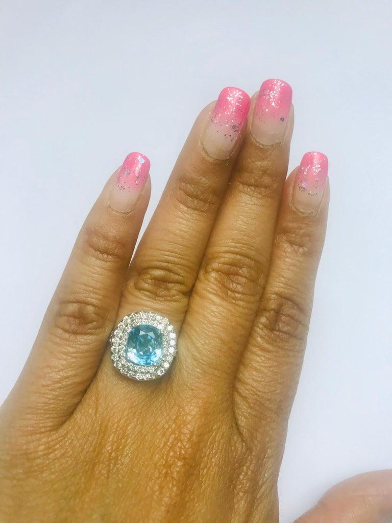 Women's 4.16 Carat Blue Zircon Diamond Double Halo 14K White Gold Ring For Sale