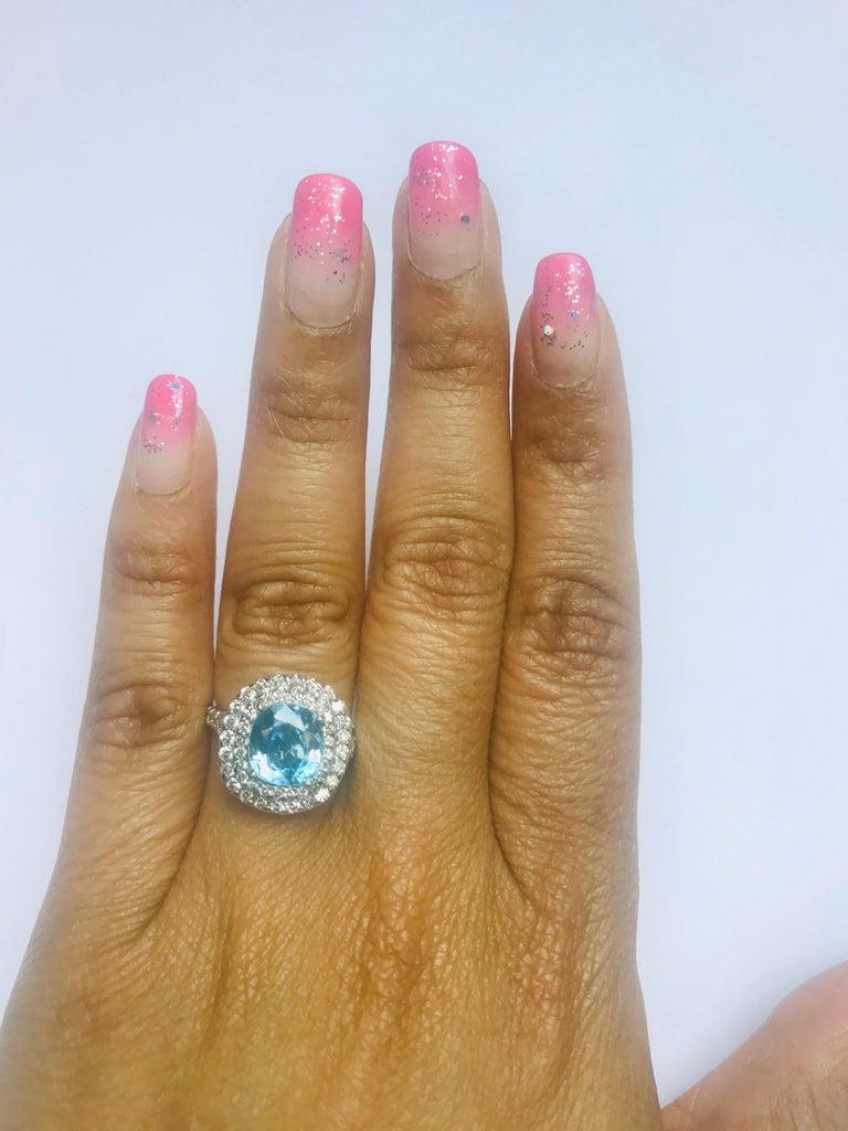 4.16 Carat Blue Zircon Diamond Double Halo 14K White Gold Ring For Sale 1