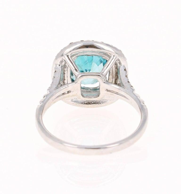Modern 4.16 Carat Blue Zircon Diamond Double Halo 14K White Gold Ring For Sale