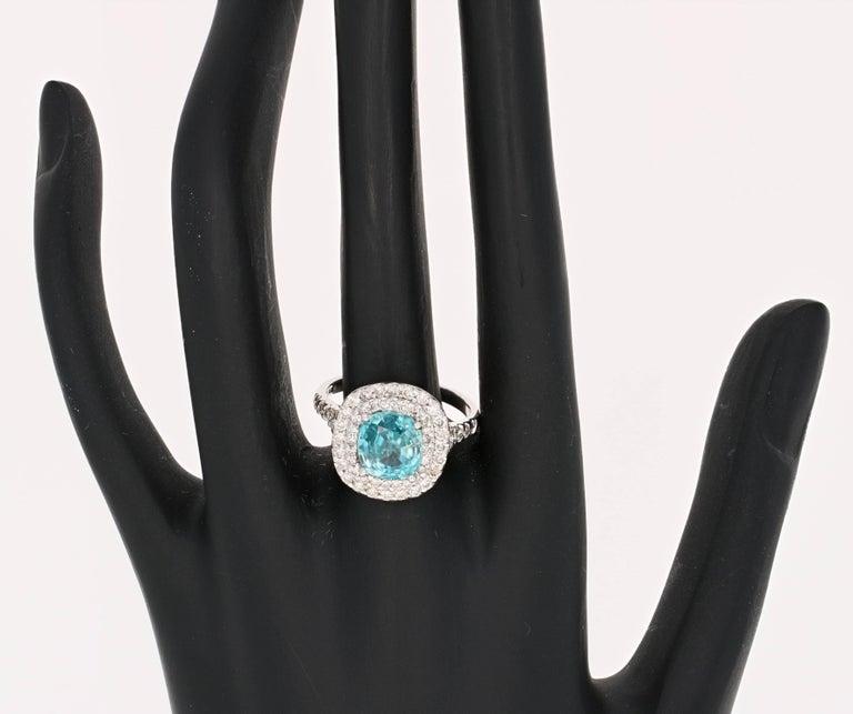Oval Cut 4.16 Carat Blue Zircon Diamond Double Halo 14K White Gold Ring For Sale