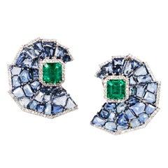 Manpriya B 4.16ct Emerald, Blue Sapphire, White Diamond Crescent Mosaic Earrings