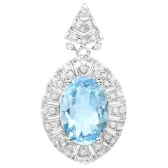 4.16 Carat Genuine Aquamarine and White Diamond 14 Karat White Gold Pendant