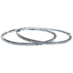 4.16 Carat Natural Round Brilliant In/Out Diamond Hoop Earrings 14 Karat