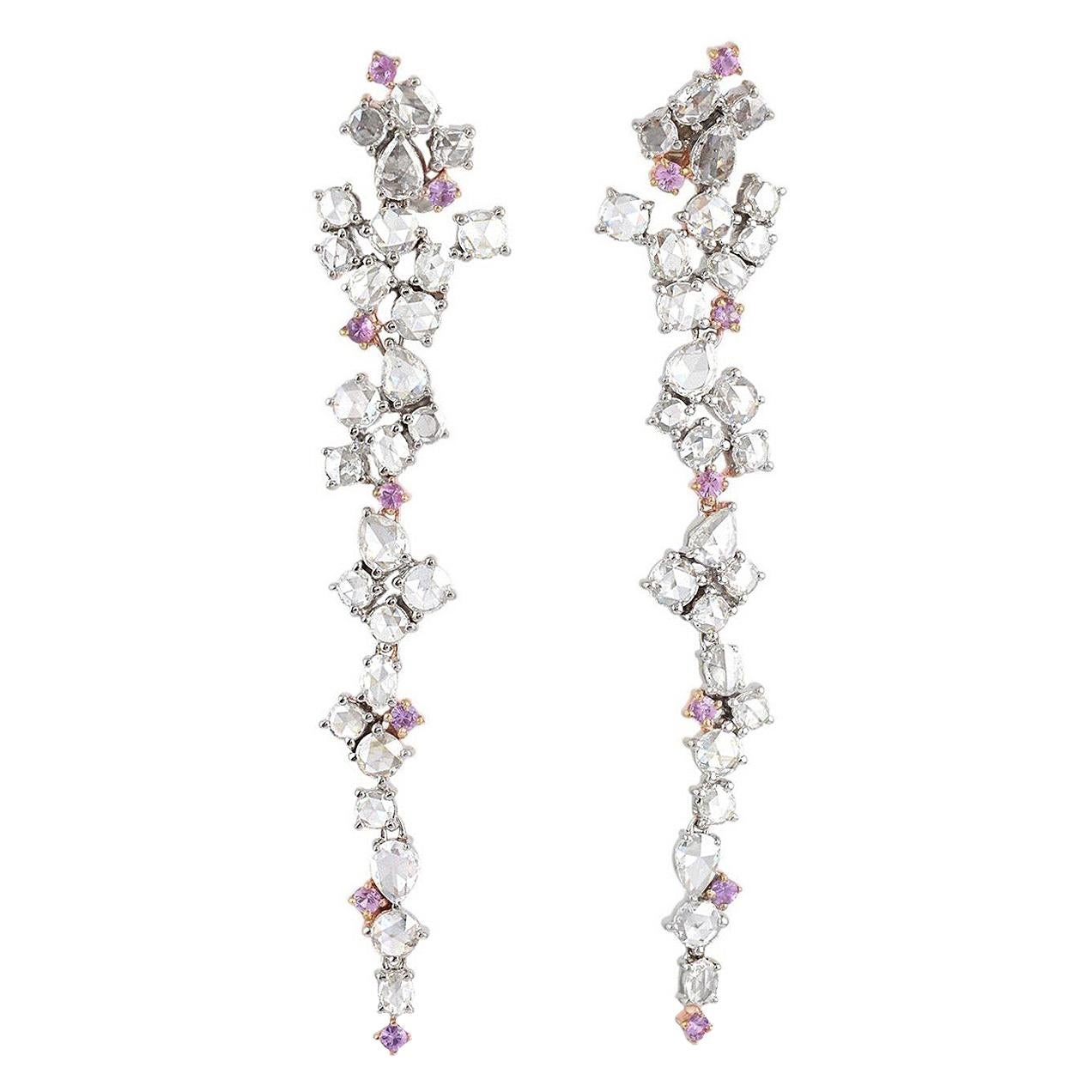 4.16 Carat Diamond Pink Sapphire 18 Karat Gold Earrings