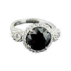 4.17 Carat Black Sapphire Ring Set in 18 Karat White Gold with Diamonds