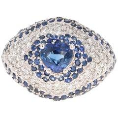 4.17 Carat Blue Sapphire Diamond 18 Karat White Gold Cocktail Ring