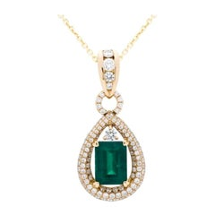 4.17 Carat Colombian Emerald and Diamond Pendant in 18 Karat Yellow Gold