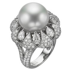 4.17 Carat Diamond and South Sea Pearl 18 Karat White Gold Cocktail Ring
