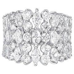4.17 Carat Diamond Ring, HRD Certified Diamond , Marquise E-F Color