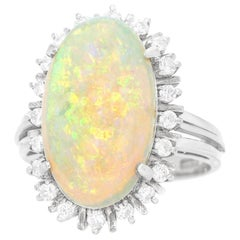 4.17 Carat Opal and Diamond-Set Platinum Ring