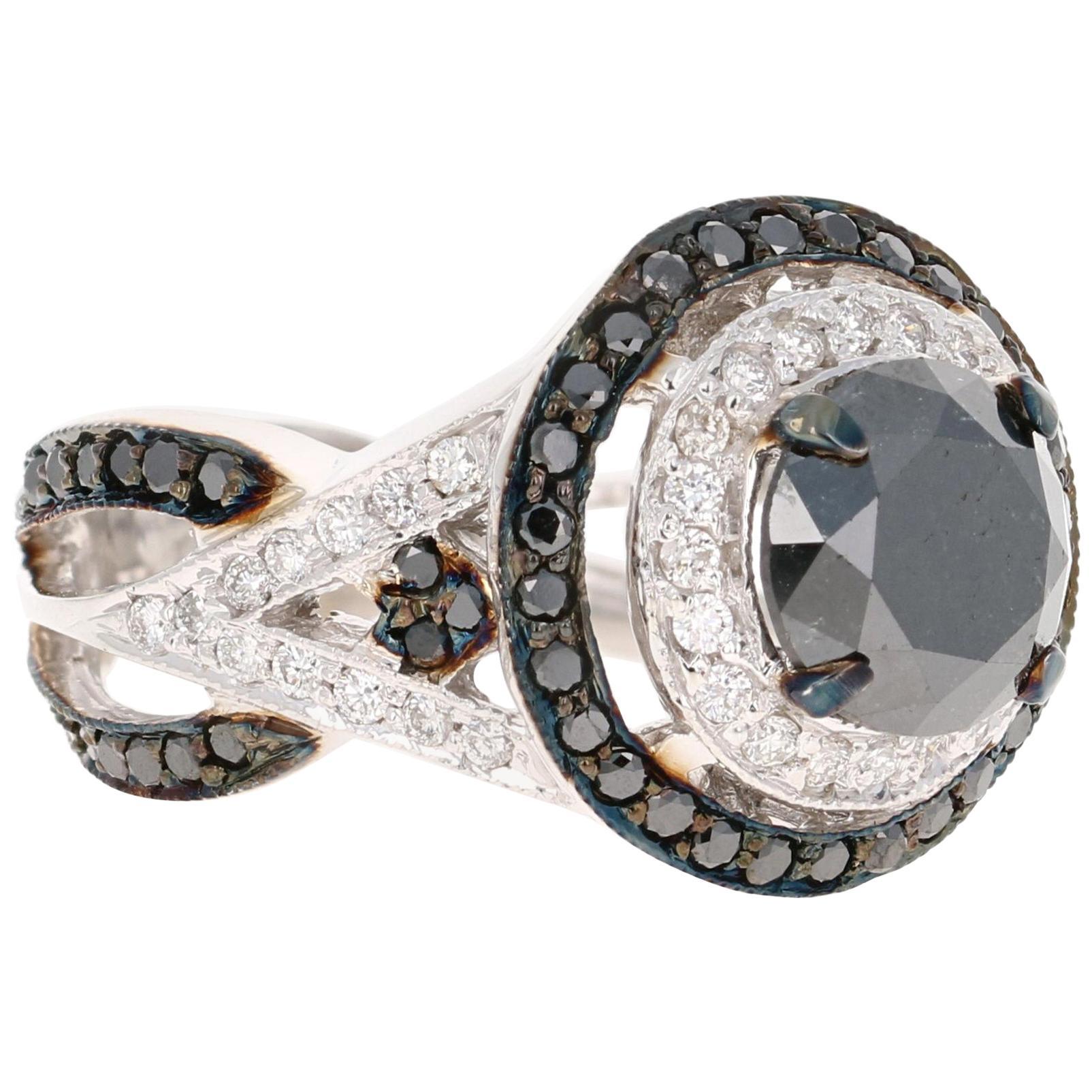 4.17 Carat Round Cut Black Diamond 14 Karat White Gold Engagement Ring
