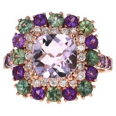 4.18 Carat Cushion Cut Amethyst Sapphire Diamond Rose Gold Cocktail Ring