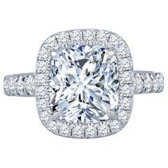 4.18 Carat Cushion Cut Natural Diamond Platinum Halo Ring H SI1 GIA Certified