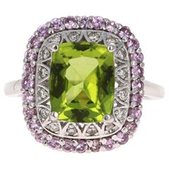 4.18 Carat Cushion Cut Peridot Sapphire and Diamond 14 Karat White Gold Ring