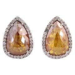 4.18 Carat Fancy Diamond 18 Karat Gold Pear Stud Earrings