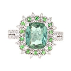 4.18 Carat Green Tourmaline Tsavorite and Diamond 14 Karat Gold Engagement Ring