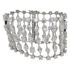 41.83 Carat Fancy Shaped White Diamonds Bracelet